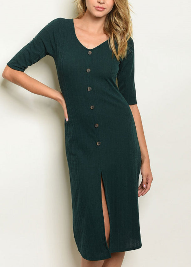 Front Slit Dark Green Midi Dress