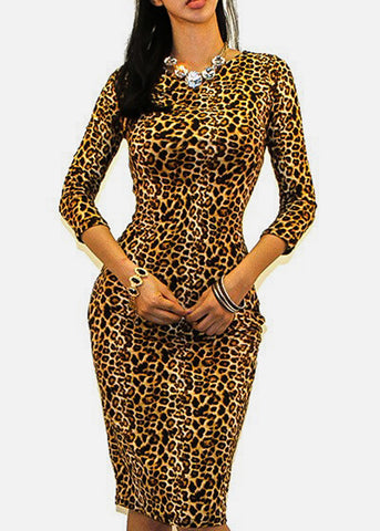 Image of Animal Print Bodycon Midi Dress
