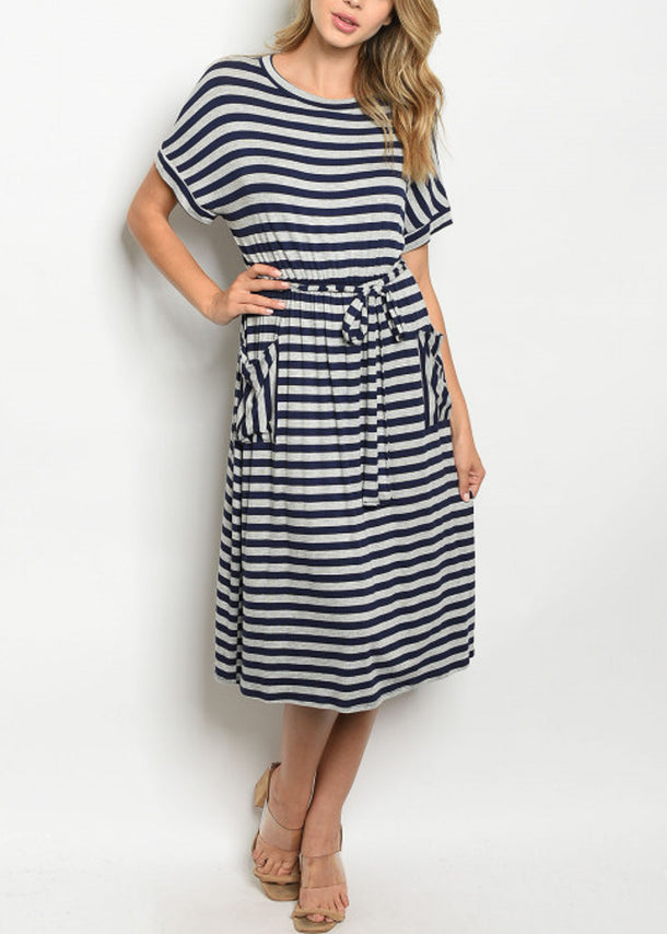 Short Sleeve Stripe Navy Dress