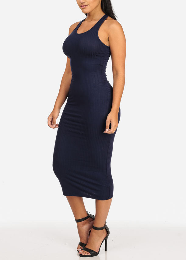 Stylish Racerback Navy Midi Dress