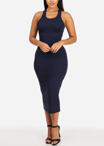 Image of Stylish Racerback Navy Midi Dress