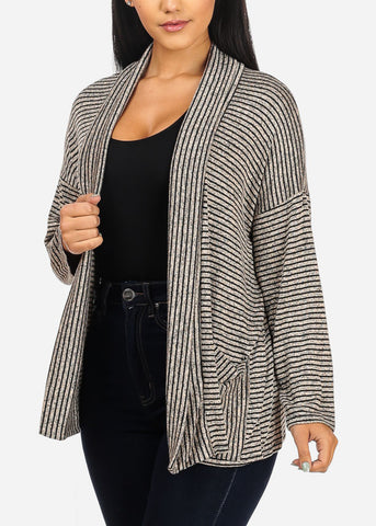 Grey And Black Stripe Cardigan
