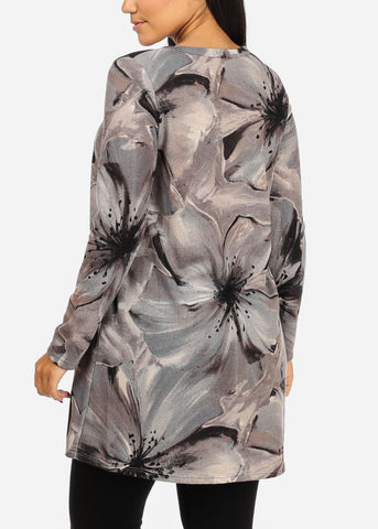 Image of Grey Floral Stretchy Tunic Top