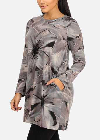Grey Floral Stretchy Tunic Top