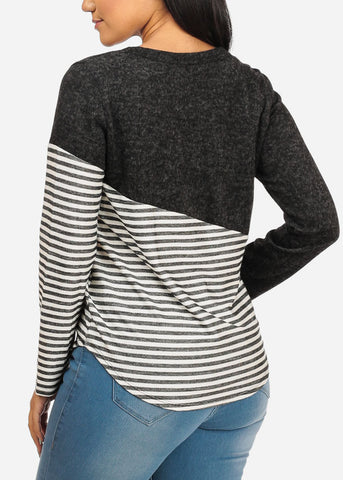 Stripe Print Stretchy Charcoal Top