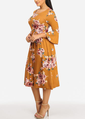 Image of Mustard Floral Print Dress