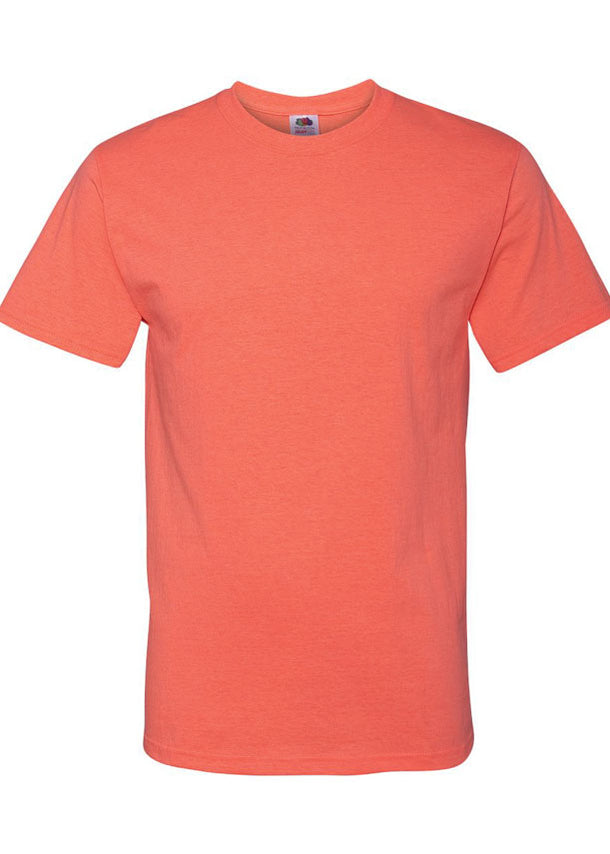 Men's Fruit of the Loom 50/50 Crew Neck Retro Heather Coral Tshirt