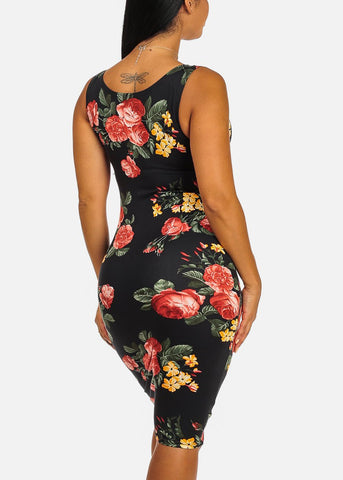 Clubwear Slim Fit Knee Length Black Rose Print Bodycon Dress