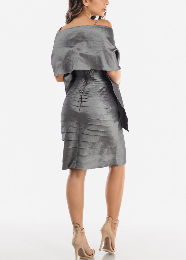 Silver Spaghetti Strap Dress w Shawl