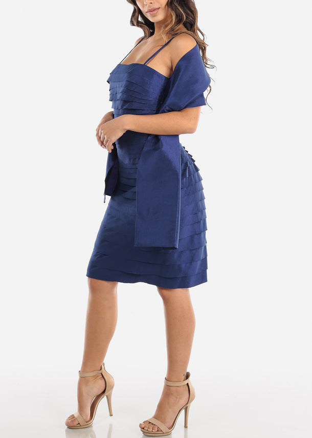 Navy Spaghetti Strap Dress w Shawl