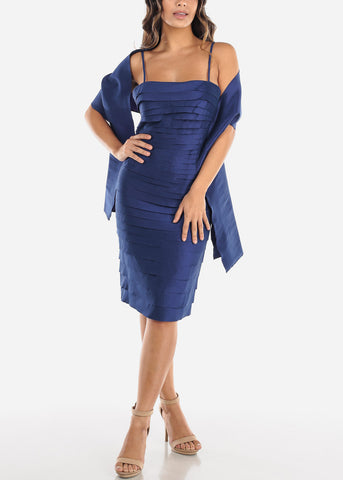 Image of Navy Spaghetti Strap Dress w Shawl