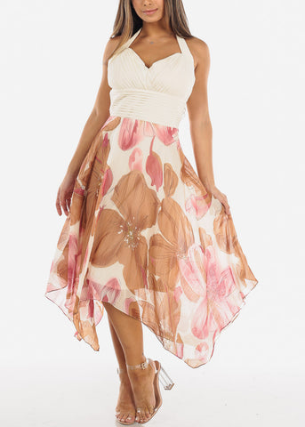 Image of Cream Floral Halter Asymmetric Dress