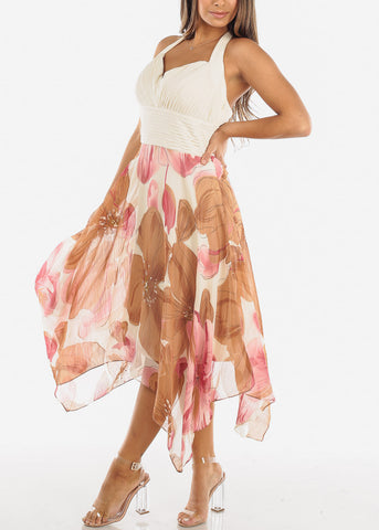 Cream Floral Halter Asymmetric Dress