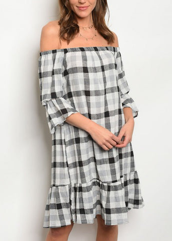 Off Shoulder Plaid Print Dress