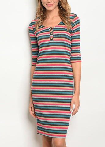 Image of Bodycon Multicolor Striped Dress