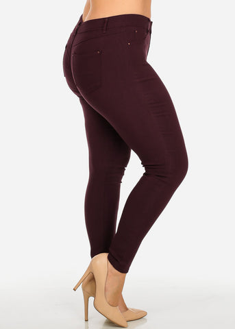 Image of Burgundy One-Button Stretchy Skinny Pants