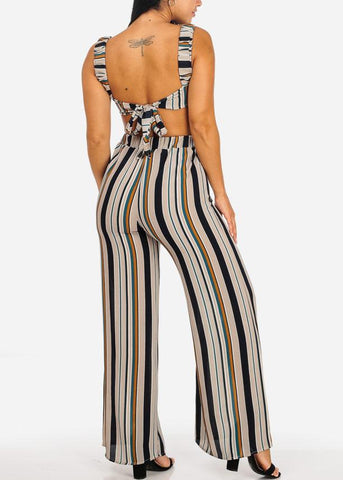 2 PC SET Stripe Crop Top W Wide Leg Pants (2 PCE SET)