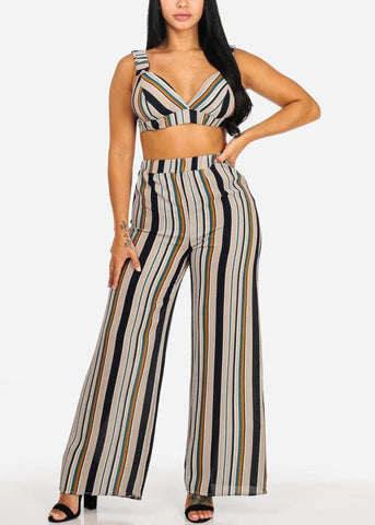 Image of 2 PC SET Stripe Crop Top W Wide Leg Pants (2 PCE SET)