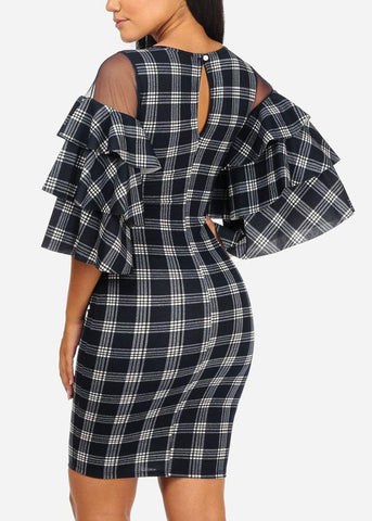 Image of Navy Bodycon Plaid Dress