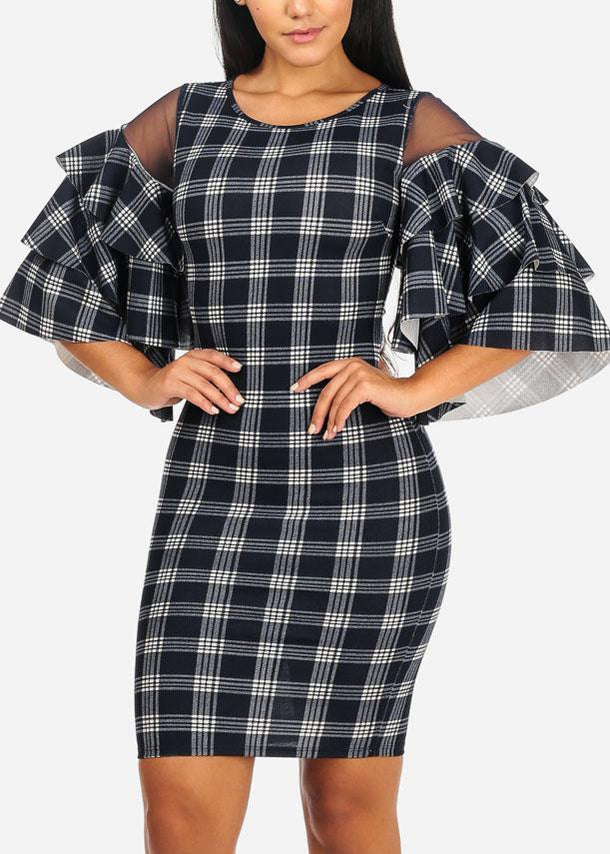 Navy Bodycon Plaid Dress