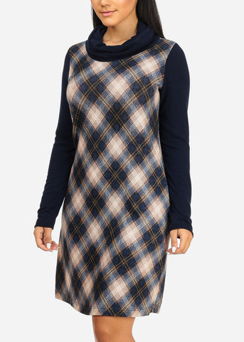 Navy Plaid Print Stretchy Dress