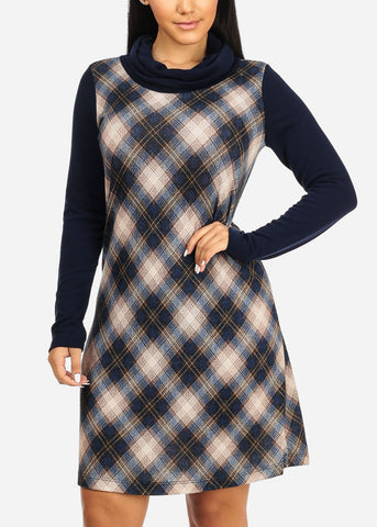 Image of Navy Plaid Print Stretchy Dress