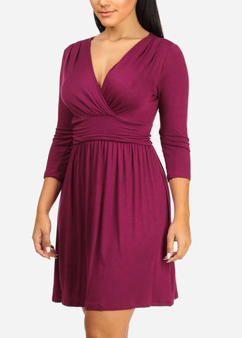 Wrap Front Ruched Detail Dress