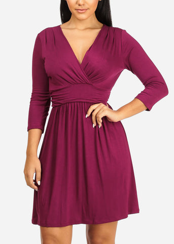 Image of Wrap Front Ruched Detail Dress