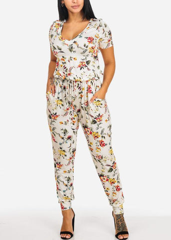 Image of Comfy White Floral Jumpsuit