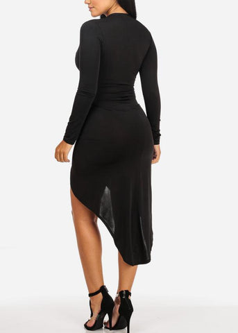 Sexy Ruched Slit Black Dress