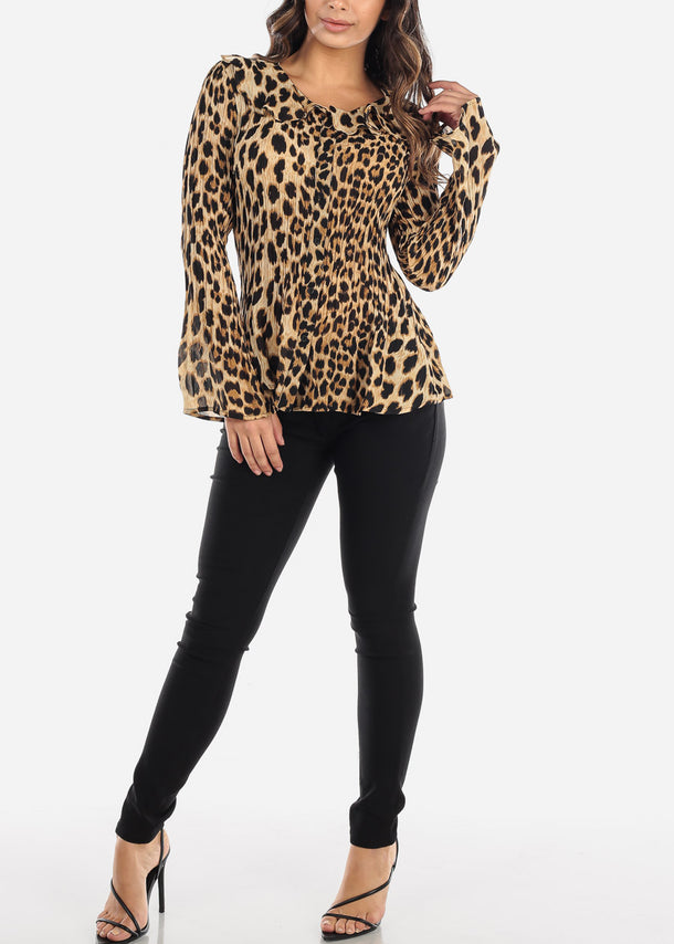 Pleated Animal Print Blouse