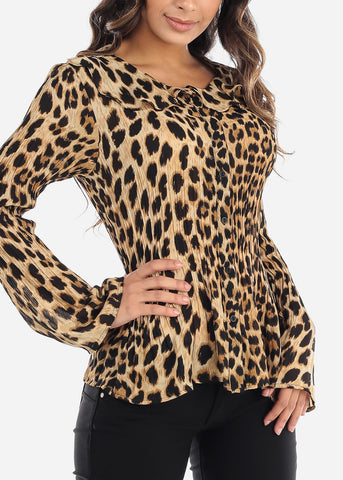 Image of Pleated Animal Print Blouse