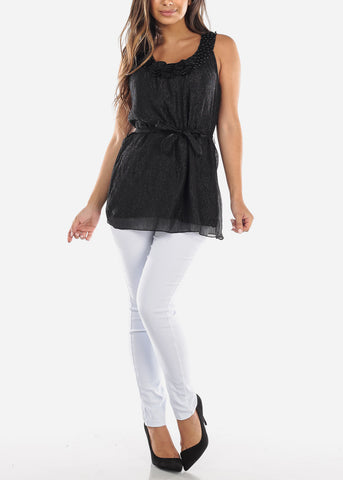 Image of Black Pearl Neckline Blouse