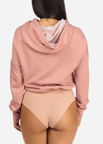 Blush Long Sleeve Hooded Sweatshirt Bodysuit