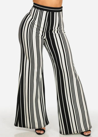 High Rise Striped Wide Leg Pants