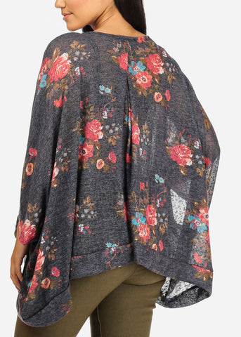 Asymmetrical Oversized Navy Floral Top