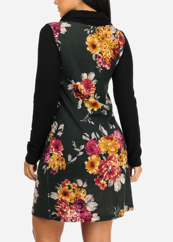 Black Floral Print Stretchy Dress