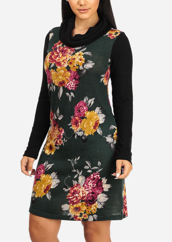 Image of Black Floral Print Stretchy Dress