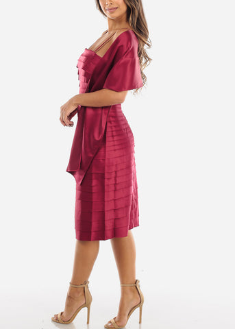 Image of Burgundy Spaghetti Strap Dress w Shawl MD0493BURG
