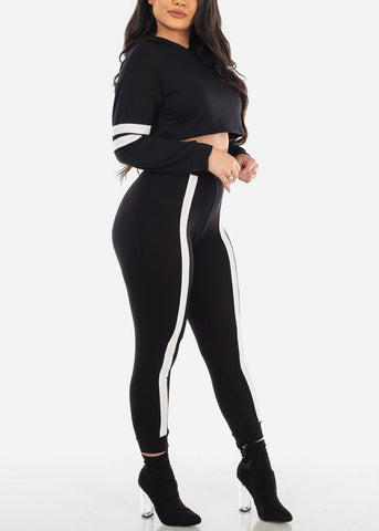 Black Stripe Crop Top & Jogger Pants (2 PCE SET)