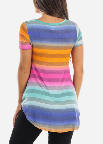 Multi Color Ombre V-Neck Shirt