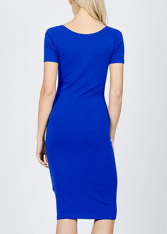 "Royal Blue Graphic Dress ""Never Give Up"""