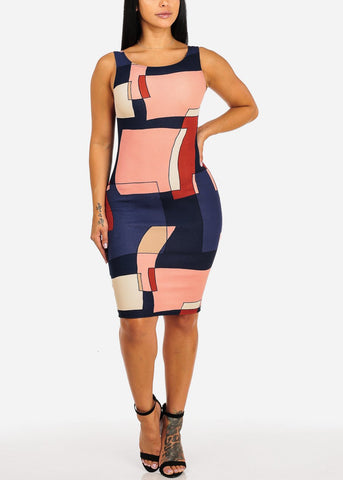 Image of Sleeveless Navy Dust Multicolor Shape Design Print Slim Fit Knee Length Bodycon Dress