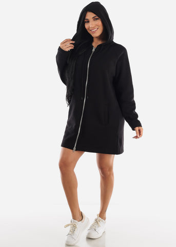 Black Graphic Hoodie Dress