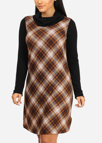 Image of Black Plaid Stretchy Dress