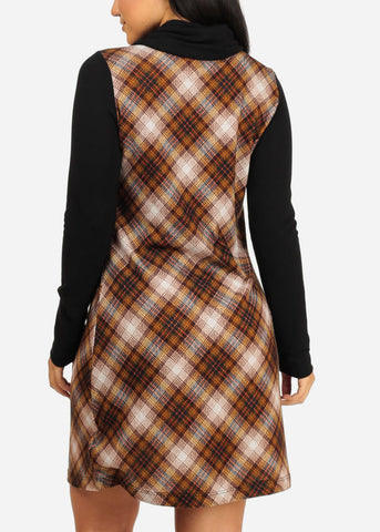 Black Plaid Stretchy Dress