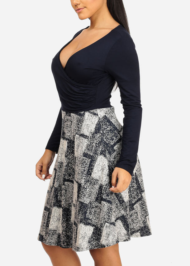 Wrap Front Navy Print Dress