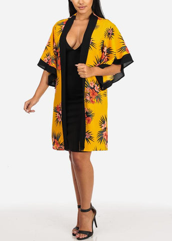 Image of Discount Mustard Floral Print Lightweight Cardigan