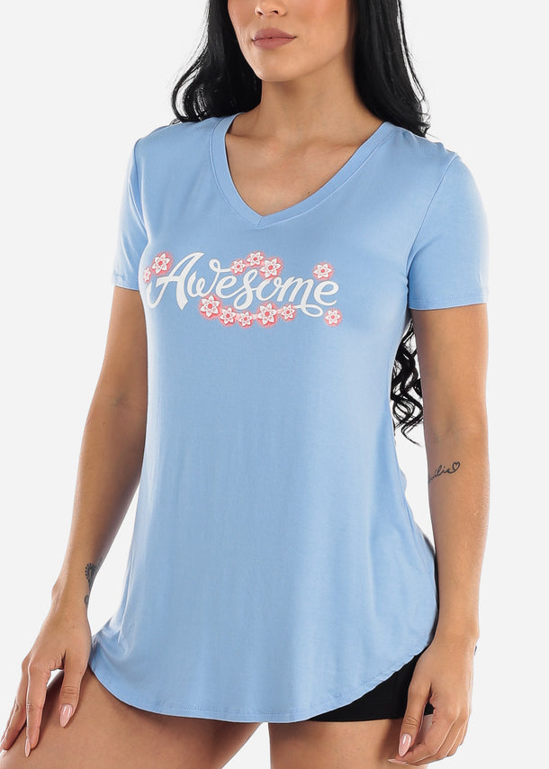 "Blue Graphic Top ""Awesome"""