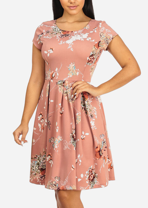Mauve Floral Fit and Flare Dress